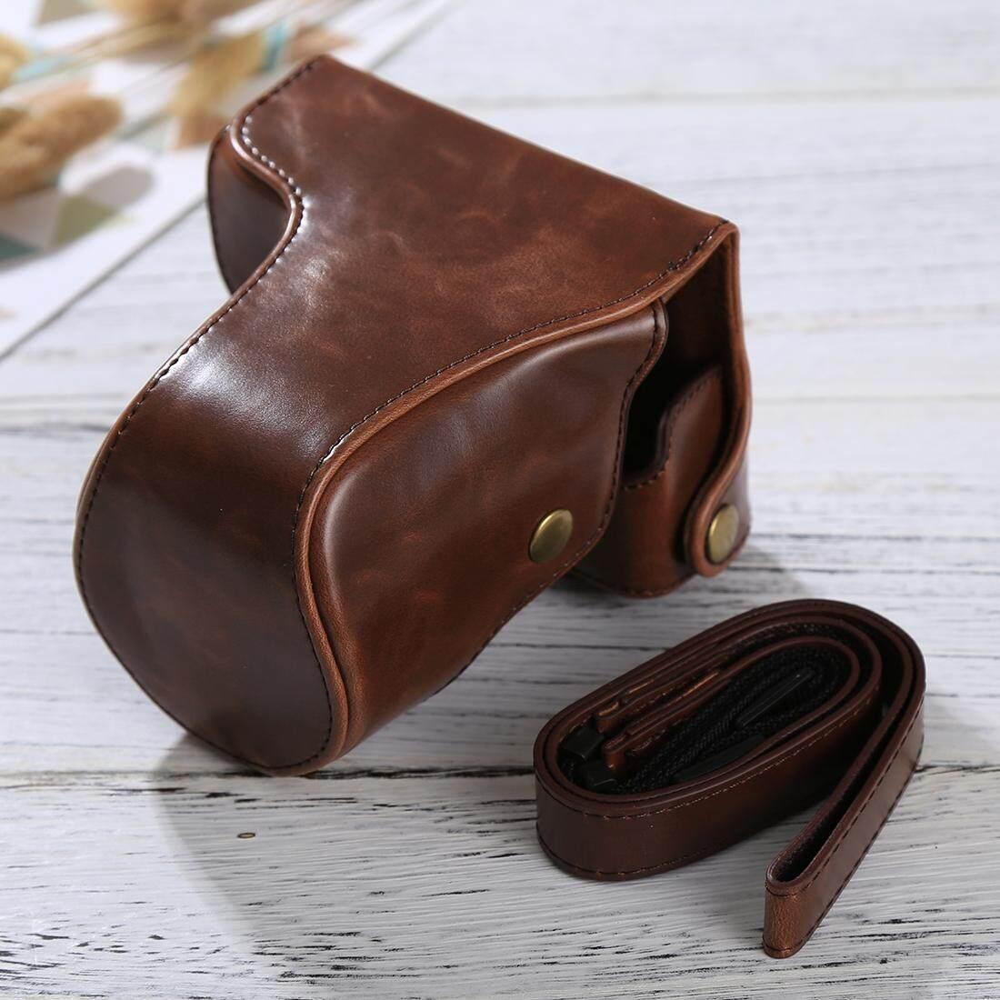 Penuh Kamera Badan PU Case Kulit Tas dengan Tali untuk Panasonic Lumix DMC-GF6 (Kopi)-Intl