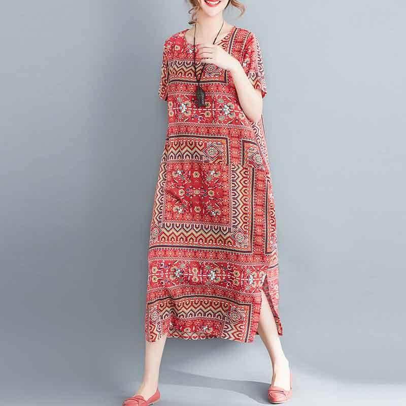 Zanzea ผู้หญิงแขนสั้นเสื้อยืดฤดูร้อนพิมพ์พิมพ์ยาวเสื้อชุดใหม่ - นานาชาติ.