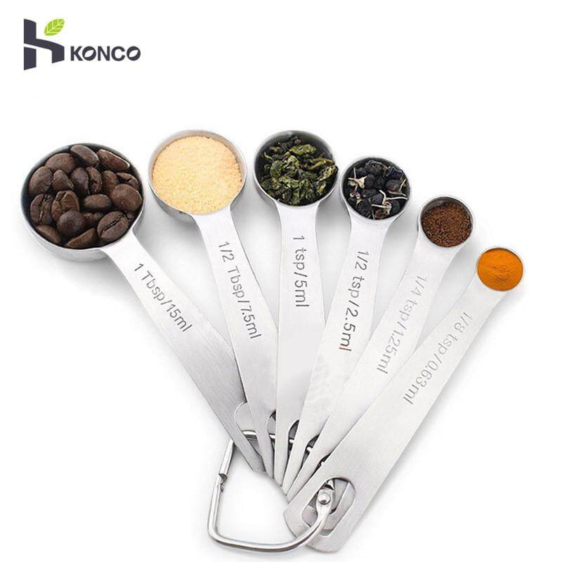 Konco Stainless Steel Measuring Spoons Set, 6 Pieces Coffee Measuring Spoons Small Tablespoon For Dry And Liquid Ingredients By Konco.