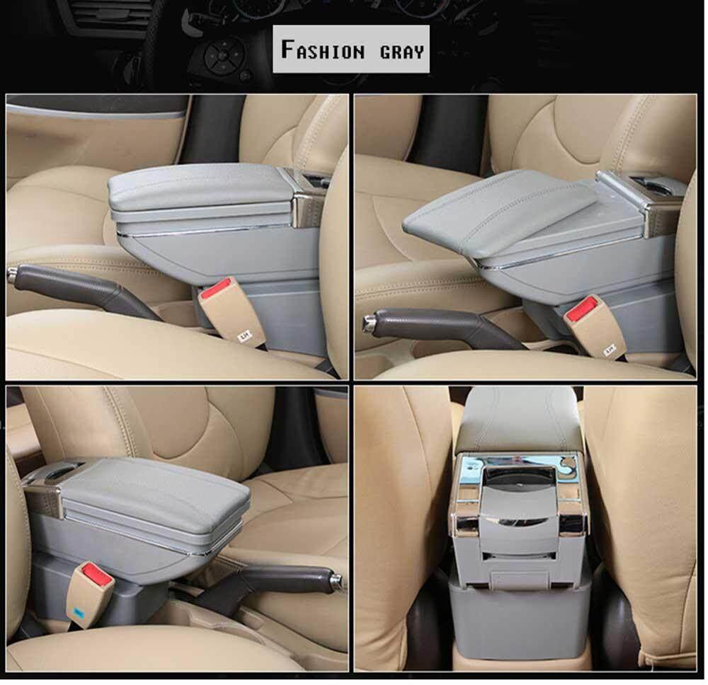 (Gray) Kotak Sandaran Tangan Pusat Toko Kotak Konten dengan Asbak Pegangan Cangkir Mobil Aksesori Tata Rambut untuk Hyundai Aksen