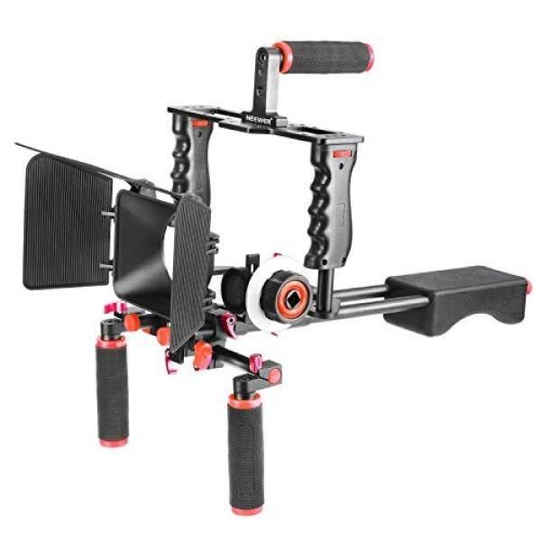 Neewer Aluminium Aloi Film Film Kit Dukungan Sistem Rig untuk Perkakas Bertualang Kamera DSLR, Termasuk :( 1) Pelindung Kamera Video, (1) Handle Grip, (2) 15 Mm Rod (1) Kotak Matte, (1) Ikuti Fokus (1) Bahu Rig (Merah + Hitam)-Intl