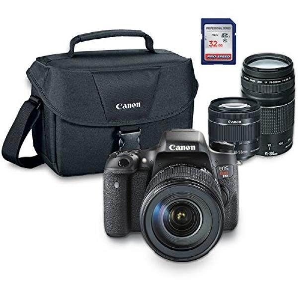 Canon EOS Rebel T6s Digital SLR Kamera Kit dengan EF-S 18-55 Mm STM + EF 75-300 Mm III + ES100 Case + 32 GB Kelas 10 Kartu SD-Versi Internasional