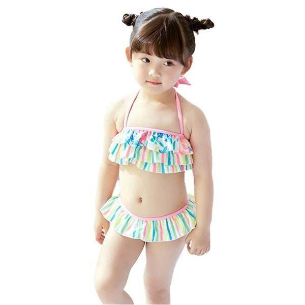 เด็กทารกบิกินี่แบบสองชิ้นชุดชุดว่ายน้ำชายหาดชุดว่ายน้ำสายรุ้งลายชุดอาบน้ำ - ขนาด 7/8 (multicolor).