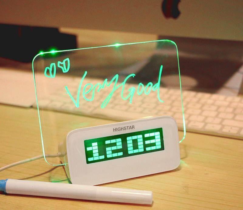 RHS Online Papan Pesan LED Stabilo Digital Jam Alarm dengan 4 HUB USB Port-Intl
