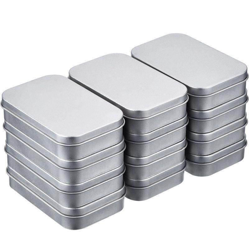 12 Pcs Container Rectangular Hinged Containers Small Storage Kit Silver Empty Mini Portable Box, Home Organizer By Superbuy888.
