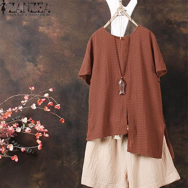 ZANZEA Women Casual Cotton Top T Shirt Tee Check Plus Size Tunic Blouse - intl