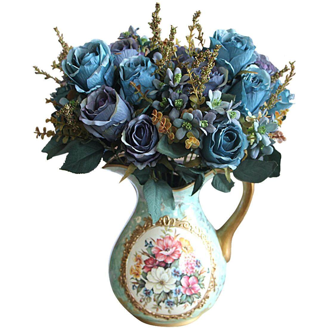 Beautiful Charming Delightful Palace Earl Rose Multi Color Artificial Flowers Artificial Flowers Wedding Home Decoration (blue)