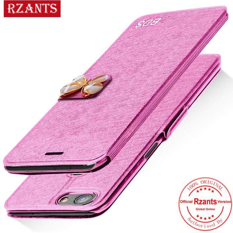 Rzants untuk VIVO V7 Plus Case【Butterfly】Leather Case with Wrist strap Card-