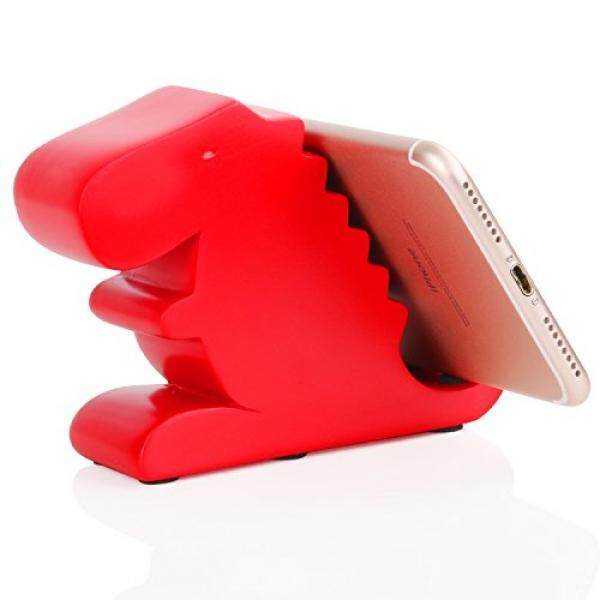 Cell Phones Stands Plinrise Resin Art Craft Cute Tyrannosaurus Dinosaur Desktop Cell Phone Stand Mounts,Decorative Candy Color Animal Dino Creative Smart Phone Holder For iPhone iPad Samsung Tablet Kindle - Red - intl