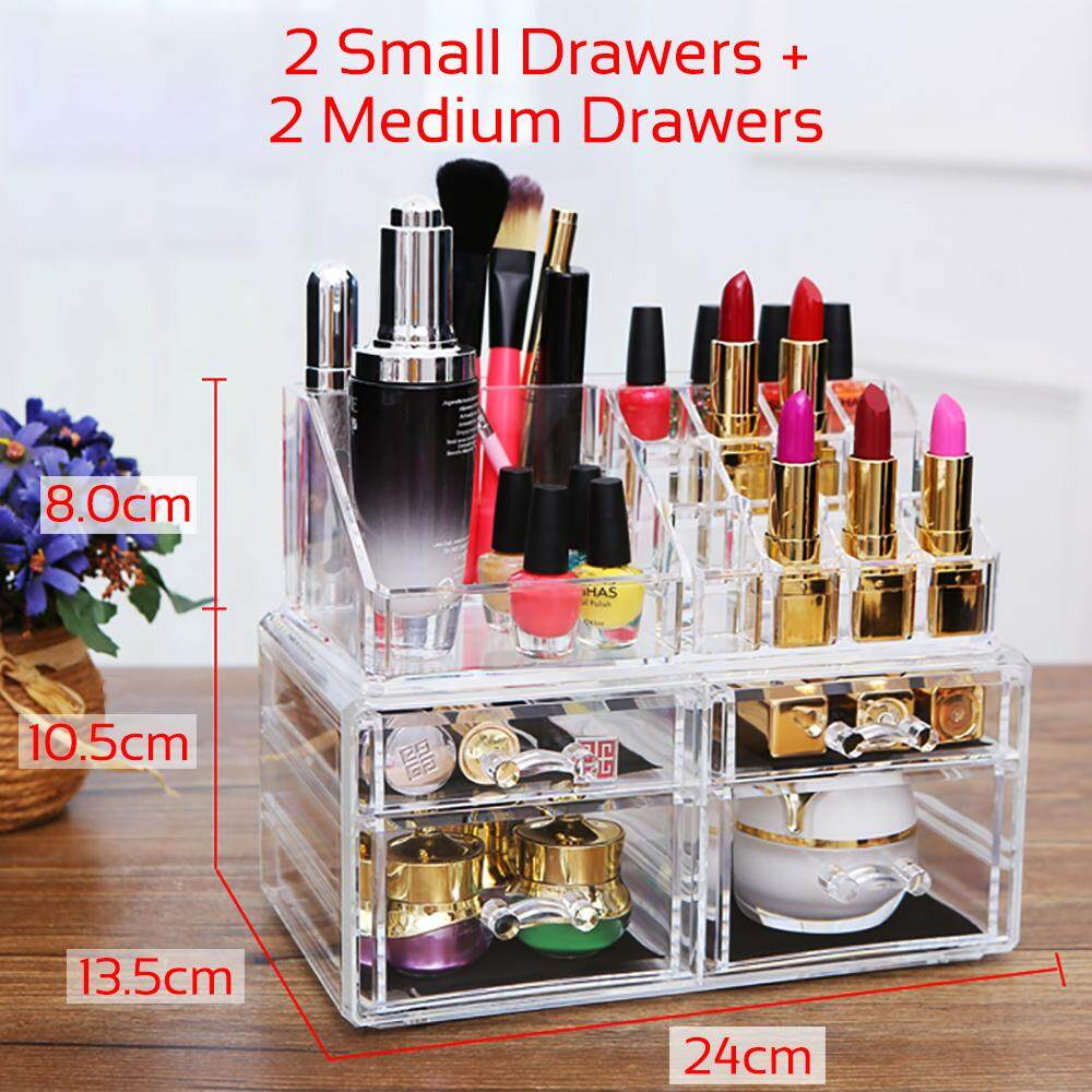BIGSPOON 2 Small Drawers + 2 Medium Drawers Clear Acrylic Cosmetic Rack Organizer Jewelry Make Up Case Container Lipstick Display Holder Stand Makeup Brushes and Sets Eyeshadow Moisturizers Nail Polish Storage Box