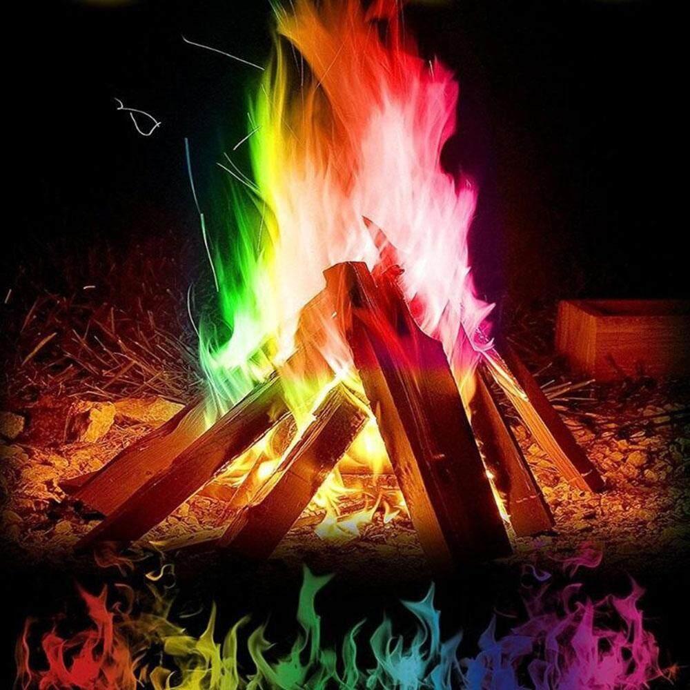 Sentexin 5 cái Cầu Vồng Lửa Màu Ma Thuật Lửa Lửa Coloured Ngọn Lửa Bonfire Màu Sắc Thay Đổi Lửa Cho Bữa Tiệc Ngoài Trời