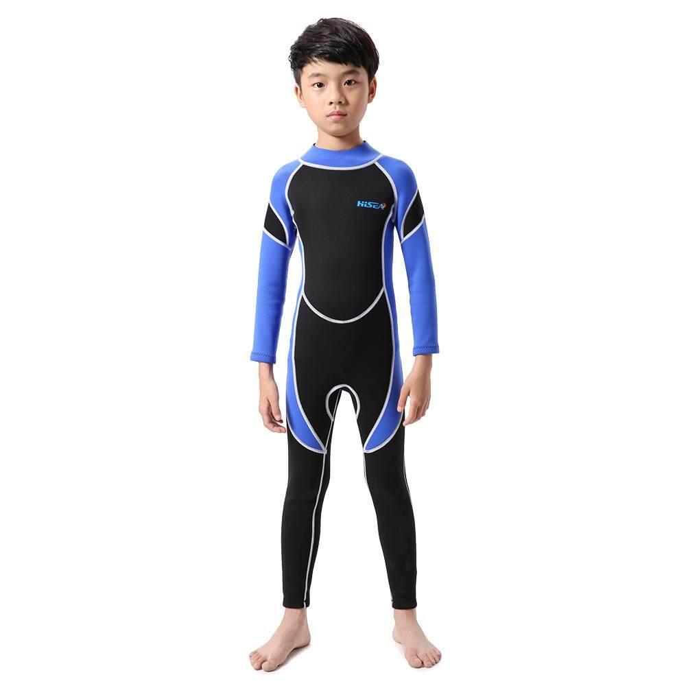 Anak-anak Pakaian Selam Neoprene Anak Laki-laki Pakaian Renang Wanita Lengan Panjang Perlindungan Sinar UV Ritsleting Belakang Baju Renang-Intl
