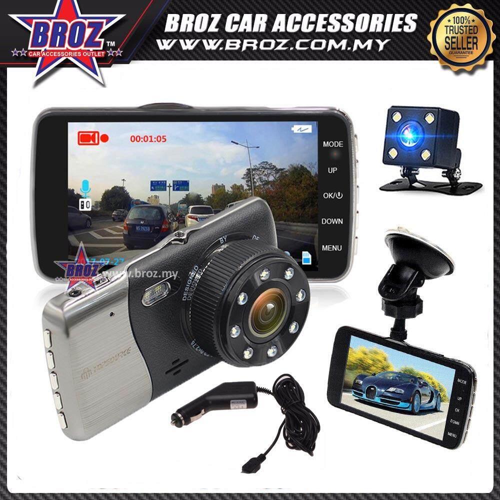 Dash Cam HD 4.0 inch Video Front Rear Dual Lens 8 LED Car Recorder G-Sensor