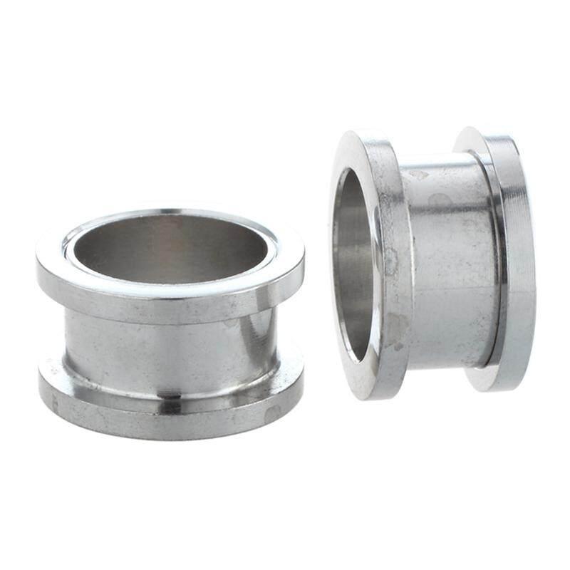6.5mm Rimmed Silver Tunnels Amount:pair Silver Steel Gauge Earring Punk Flesh Tunnel Ear Plugs Rimmed Flat Style Type:391