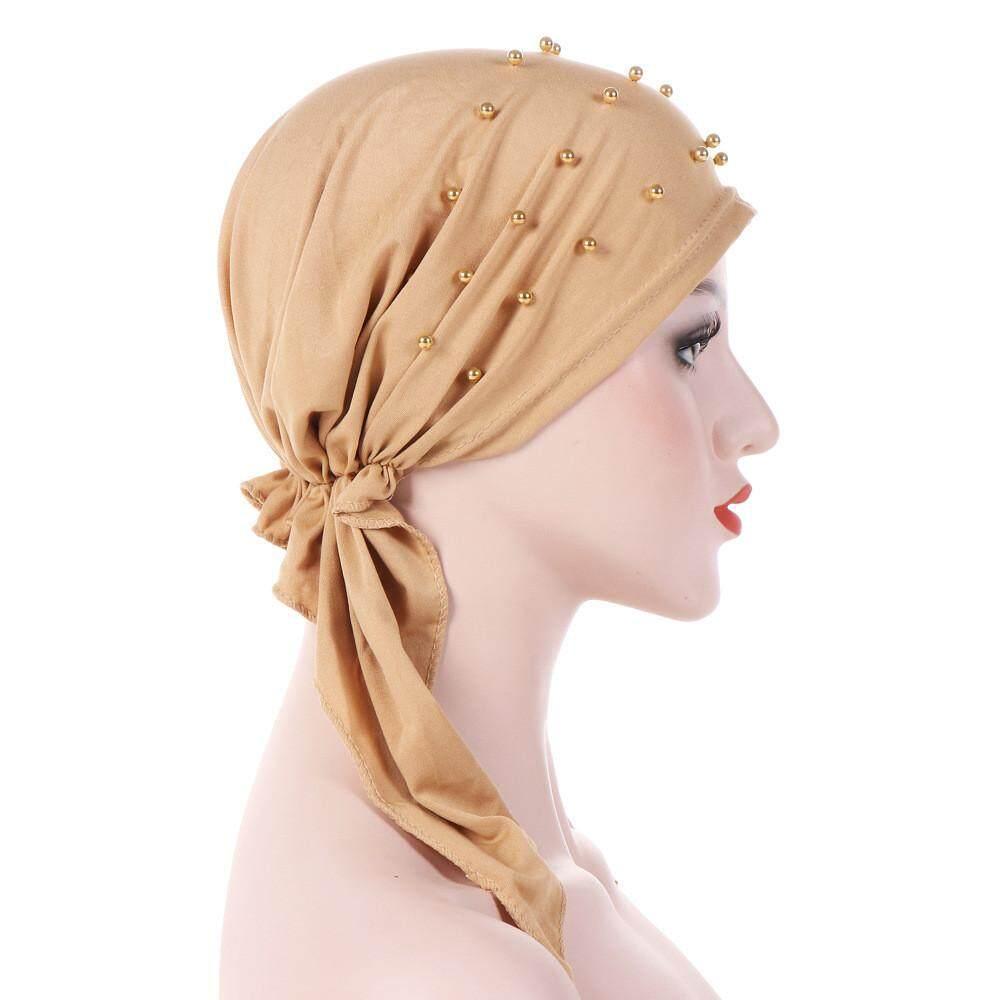 Wanita India Manik-manik Muslim Stretch Turban Topi Rambut Kapas Kehilangan  Topi . 3fac36e92c