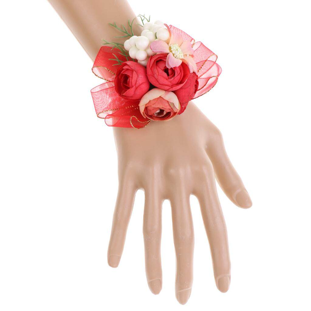 GuangquanStrade Bridesmaid Sisters Corsage Bracelet Hand Flowers Wedding supply Red