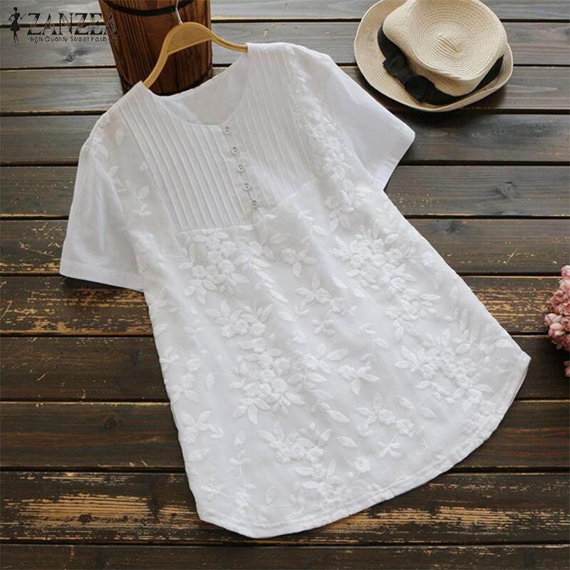 S-5XL ZANZEA Women's Short Sleeve Crochet T-Shirt Tee Shirt Blouse Summer Tops