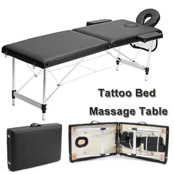 185cm 58-82cm Adjustable Portable Aluminium 2 Fold Massage Table Bed Chair Body Therapy Waxing Beauty Center