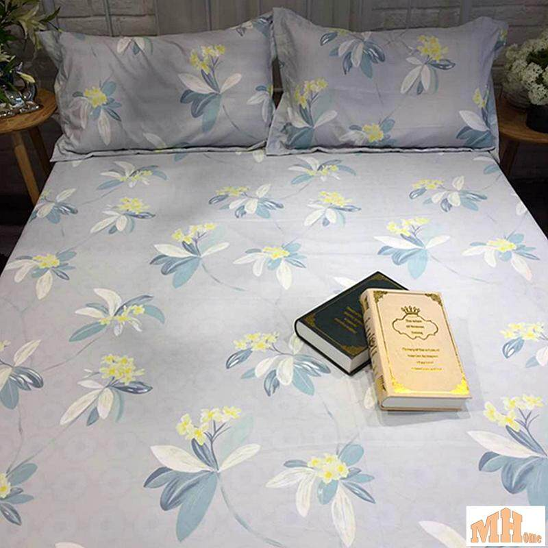 Maylee High Quality Cotton 2pcs Single Fitted Bedding Set 450TC Grey Flower