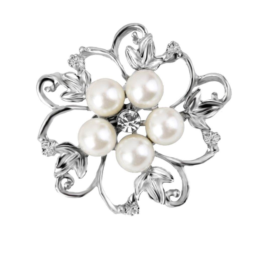 GuangquanStrade CRYSTAL DIAMANTE BOUQUET WEDDING PARTY WOMEN FAUX PEARLS FLOWER BROOCH PIN