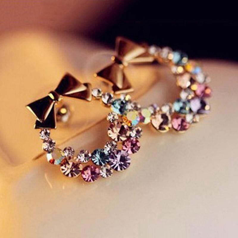 ... Imitasi Warna Berlian Imitasi Anting-anting Busur Perhiasan Vintage Kancing Modis-Anting-Anting ...