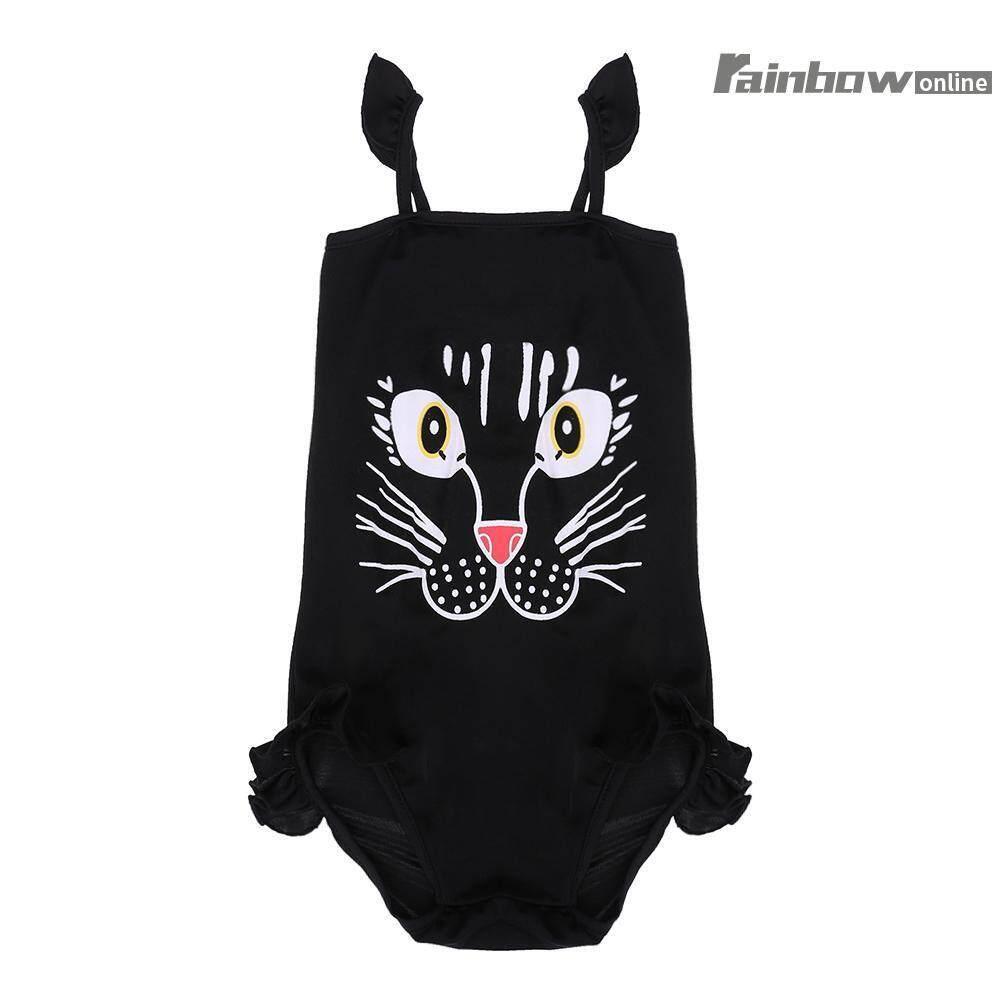ฤดูร้อนการ์ตูน Cat One - Piece ชุดว่ายน้ำชุดว่ายน้ำด้านข้างหญิงชุดว่ายน้ำเด็กทารก (สีดำ) - Int: Xl - Intl.
