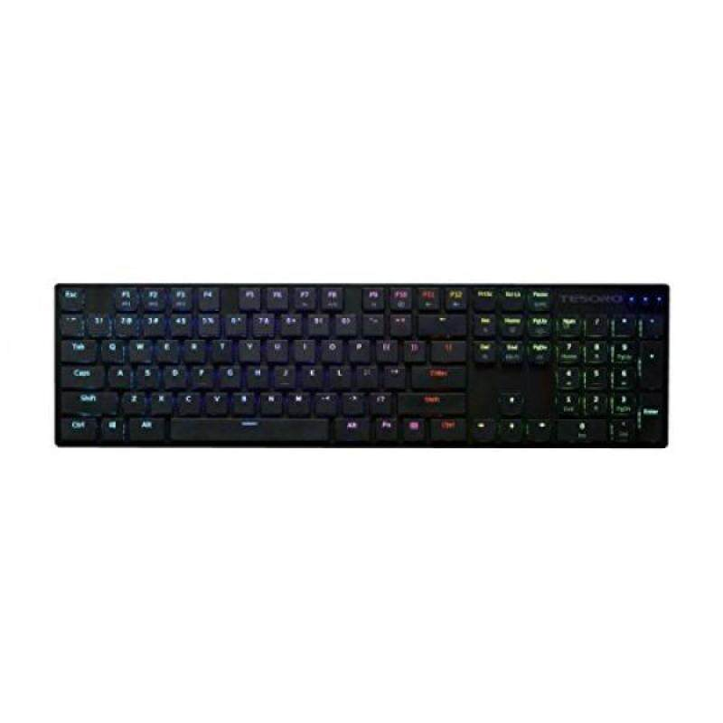 Tesoro Gram XS G12ULP Blue Ultra-Slim Mechanical Switch Chicklet Style Beycap Full Color RGB LED Backlit Illuminated Mechanical Black Ultra-Low Profile Keyboard TS-G12ULP B (BL) - intl Singapore