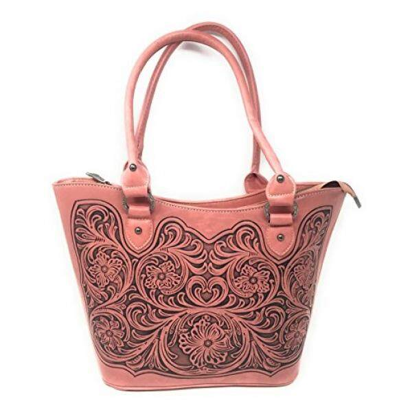 Trinity Ranch Trinity Ranch Concealed Carry Zip-Top Shoulder Tote w/ Floral Tooled Genuine Leather Handbag Purse For Carrying Your Weapon (Pink) - intl