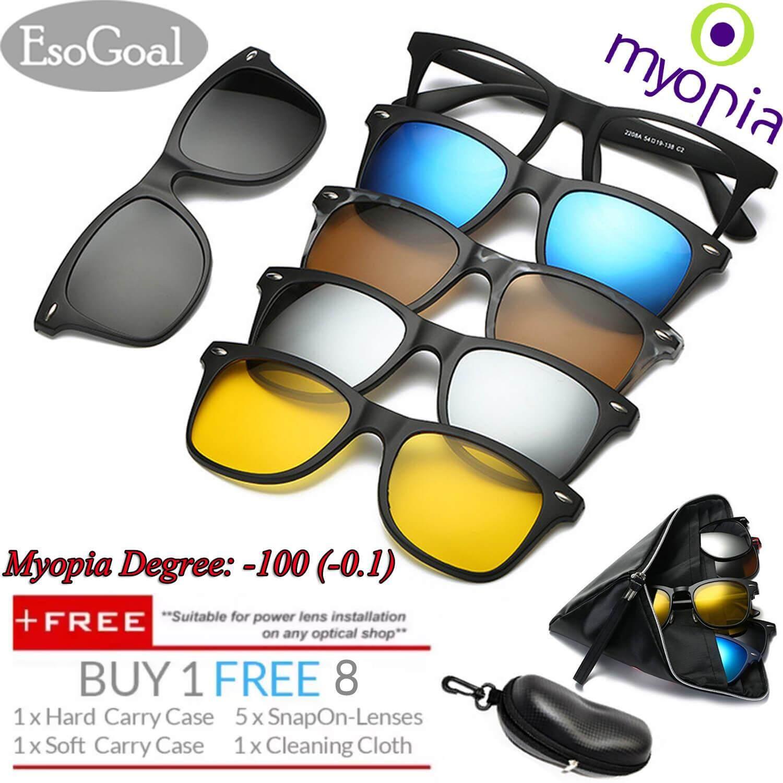 [exclusive Sale] Esogoal Myopia Magnetic Sunglasses (-1.0 ~ -3.0) Clip On Glasses Unisex Polarized Lenses Retro Frame With Set Of 5 Lenses - Intl By Esogoal.