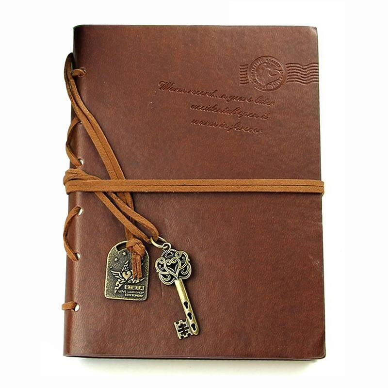 Classic Retro  Leather Bound Blank Pages Journal Diary Notepad Notebook Coffee 143*105*20mm.