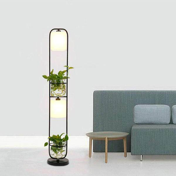 Modern Chinese Decoration Plant Flower Floor Lamp Fabric Lampshade Glass Study Stand Floor Light AC110V-220V