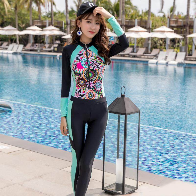 1b99a1ac40a09 LYSEACIA Summer Women Wetsuit Printed Two-Piece Swimsuit Diving Surfing  Swimming Suit Zipper Rashguard Slim