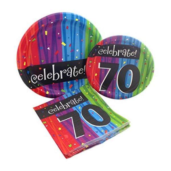 Celebrate 70 Happy Birthday Party Bundle with Paper Plates and Napkins for 8 Guests - intl  sc 1 st  Lazada Philippines & Disposable Plates for sale - Plastic Dinnerware prices brands ...