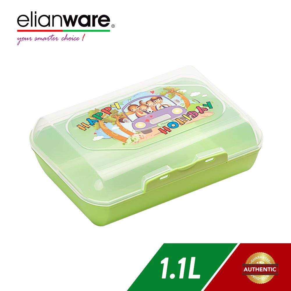 Elianware 1100ml Sandwich Toast Waffle Color Pencil Stationery Storage Microwavable Kid Lunch Box