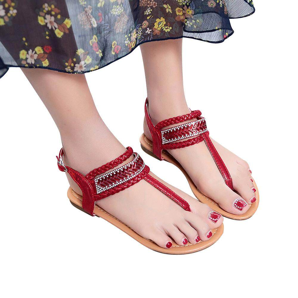a47a64a66c7 Summer Pinch Casual Bohemian Diamond Sandal Women Gladiator Sandals Roman  Flats Stinsonshop