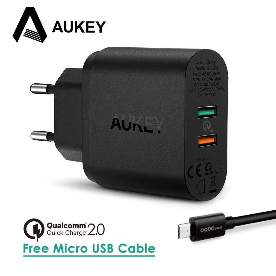 AUKEY Quick Charge QC 2.0 Dual 2 Port Universal Fast USB Travel Wall Phone Charger +