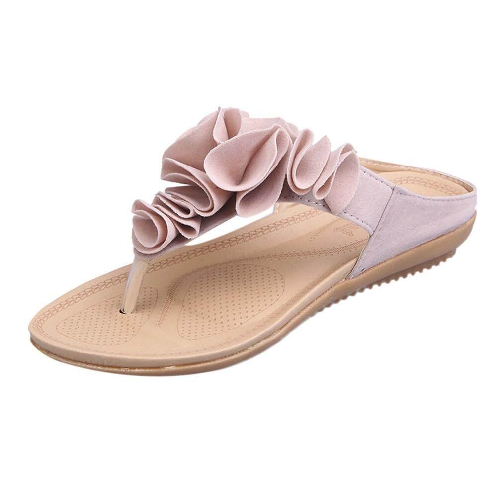 Cozy ผู้หญิงฤดูร้อนชายหาด Flip Flops รองเท้าสตรีแบนสวยรองเท้าแตะลายดอกไม้ By Weondering.