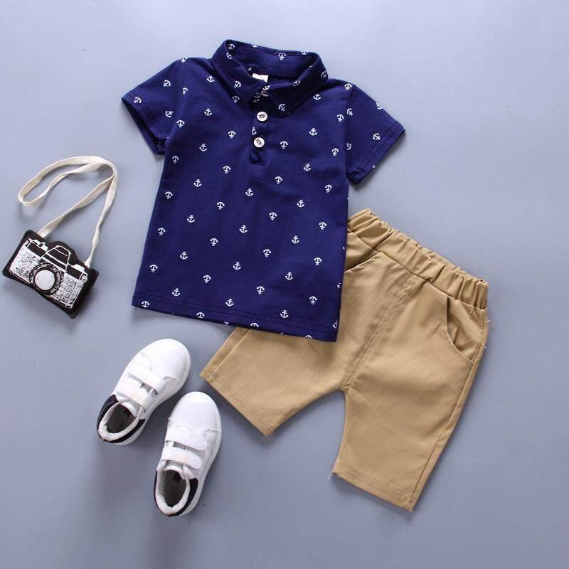 705e3bd692 Spring Boy Polo Shirt Boy Suit For Children Clothing Set Kids Tshirt+shorts  2pcs Blue