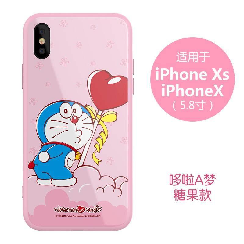 Rockbear Doraemon iphone Xs Max Casing HP Apple ID X model baru iphone X Sarung HP iphone Xs Silikon anti jatuh Kaca shell merah pria xsMax soft s pelindung Chasing luar