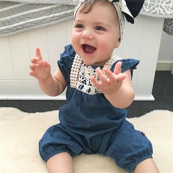Baru Musim Panas Pakaian Bayi Romper Denim Ruffles Lengan Yang Baru Lahir Romper Bayi Setelan Luar Tubuh Setelan - 2