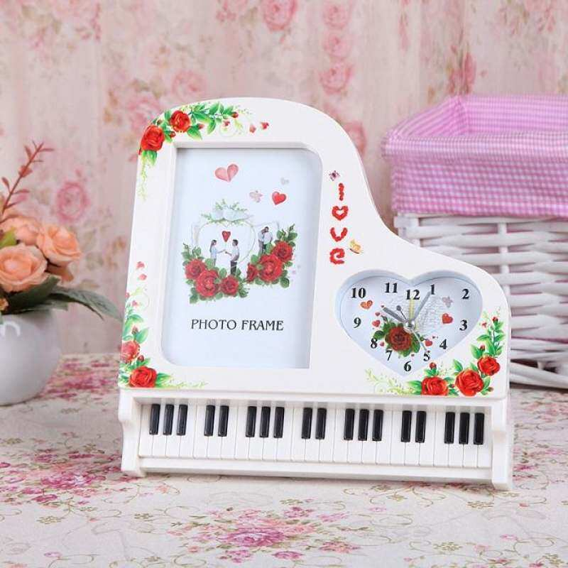 Creative Classic Piano Frame With Alarm Clock Plastic Love 5 Inches Picture Photo Frame Wedding Gifts Home Art Decor (Pre-Order 7 - 9 Working Days) - intl