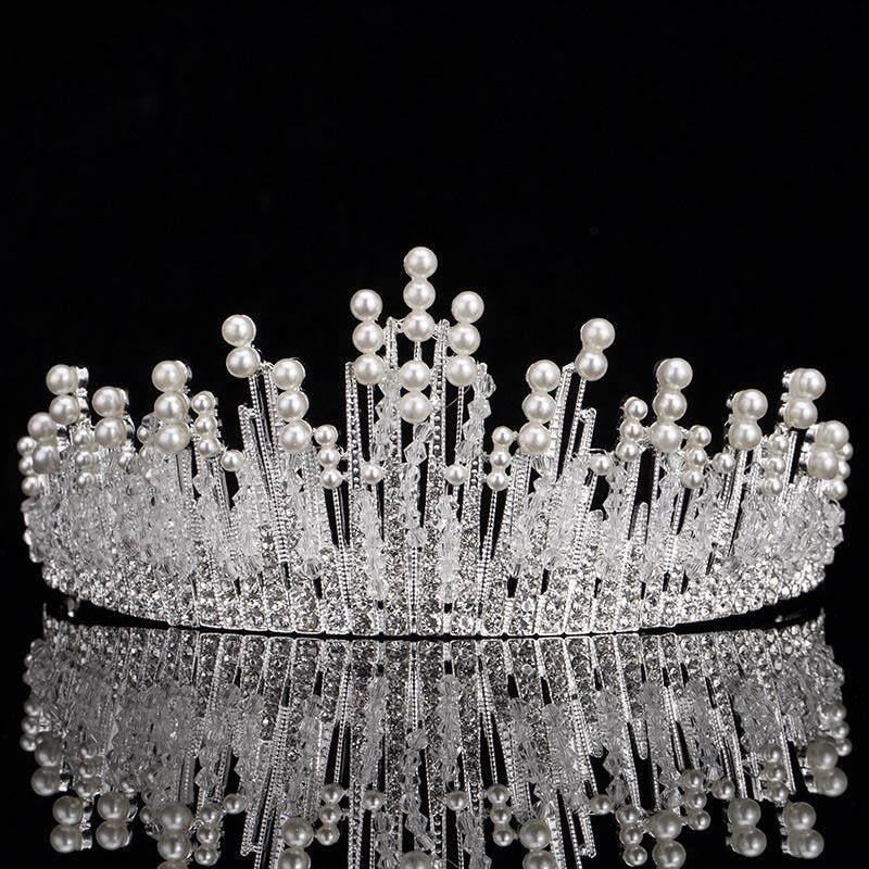 Mutiara Trendi Mahkota Tiara Pernikahan untuk Pengantin Aksesoris Rambut Mahkota Ratu Kristal Pernikahan Hiasan Rambut-