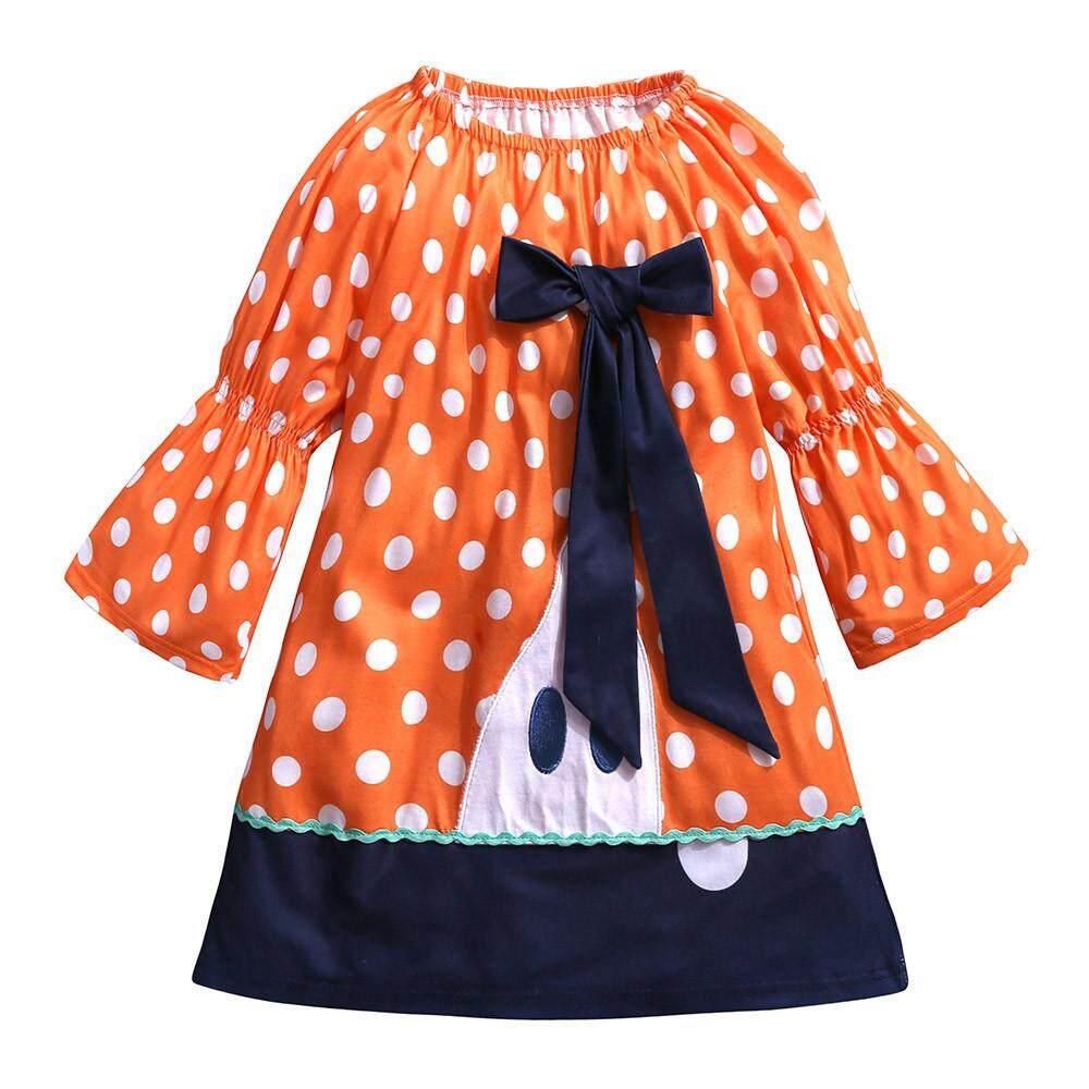 Indah Balita Anak-anak Bayi Bintik Anak Perempuan Ikatan Simpul Gaun Bordir Kostum Halloween Pakaian