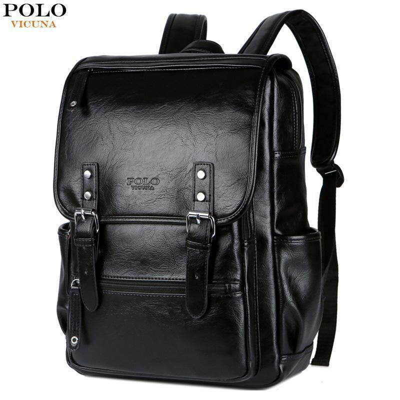 00f4e6c8ac VICUNA POLO Large Black Leather Backpack School Bags For Adolescent Boys  15inch Laptop Backpack Teenager Fashion