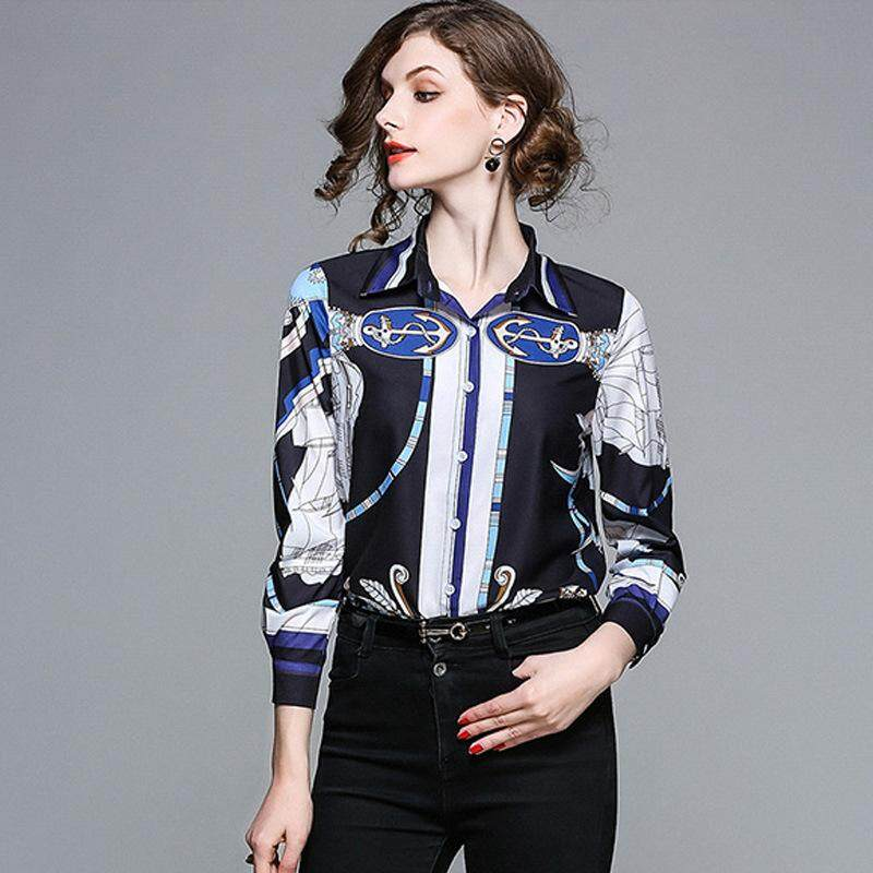 83cb97e0ddaf1 2018 Europe and the United States Fashion Spring Women s Clothing New  Classic Printing Tencel Lapel Long