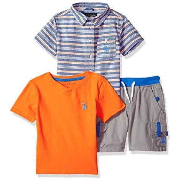U.S. Polo Assn. Little Boys Sleeve Shirt, T-Shirt and Short Set, Cargo Warhol Orange, 7 - intl