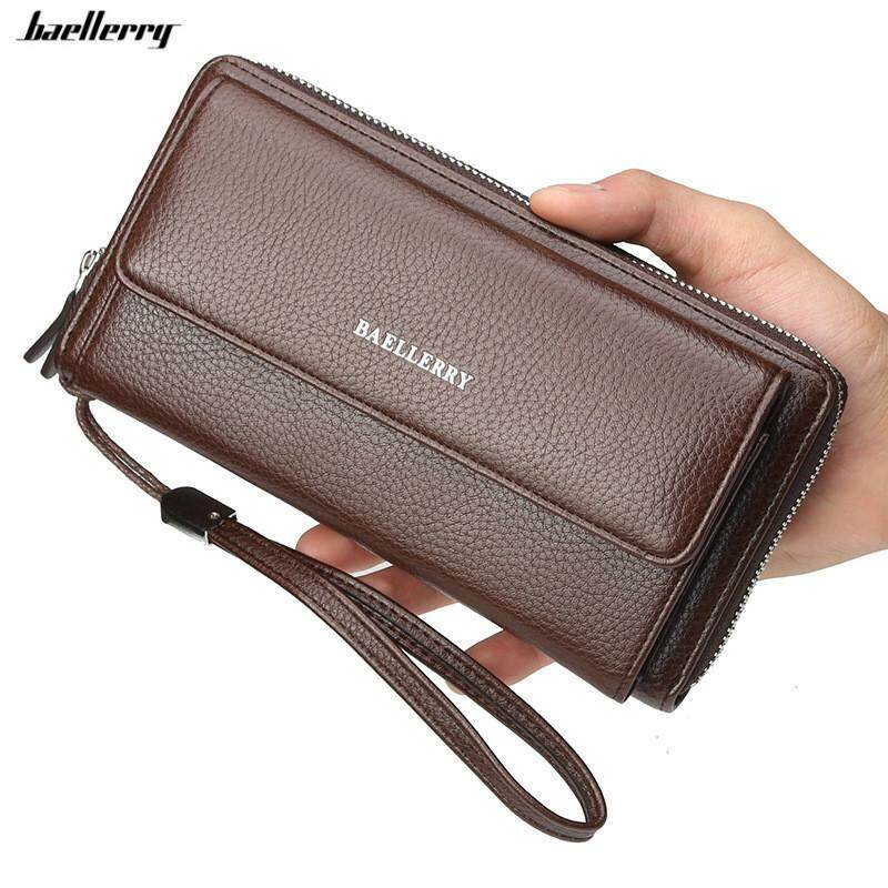 Baellerry New Wristband Wallet Male Soft Leather Card Holder Phone Pocket Clutch Purse for Man
