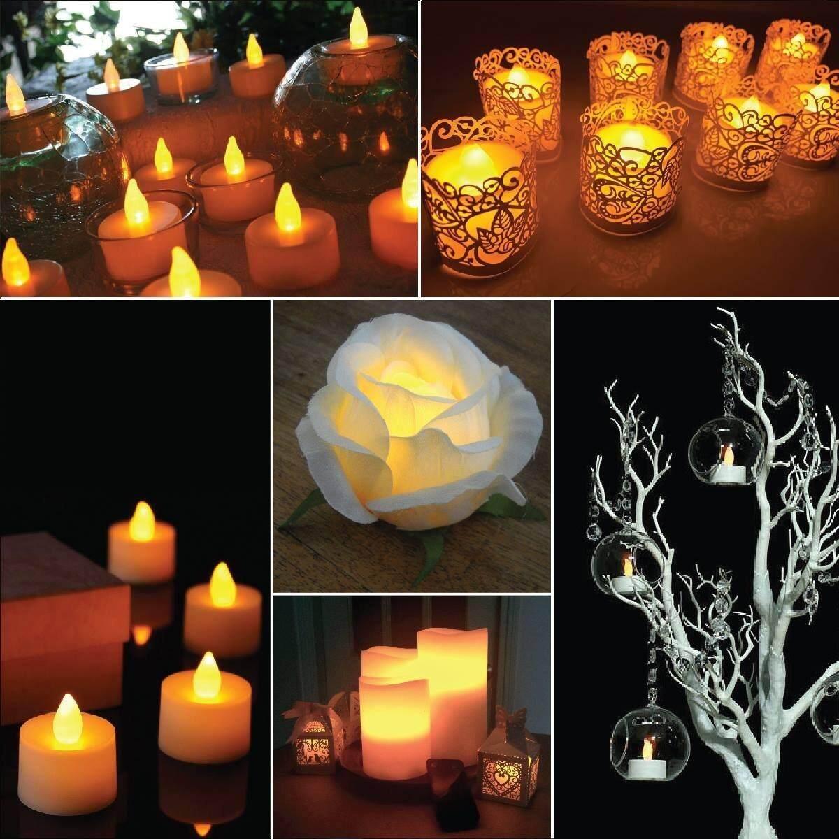 24PCS Electronic Candle Light Romantic Lamp Flameless Tealight Candles Wedding Party Yard Decoration .