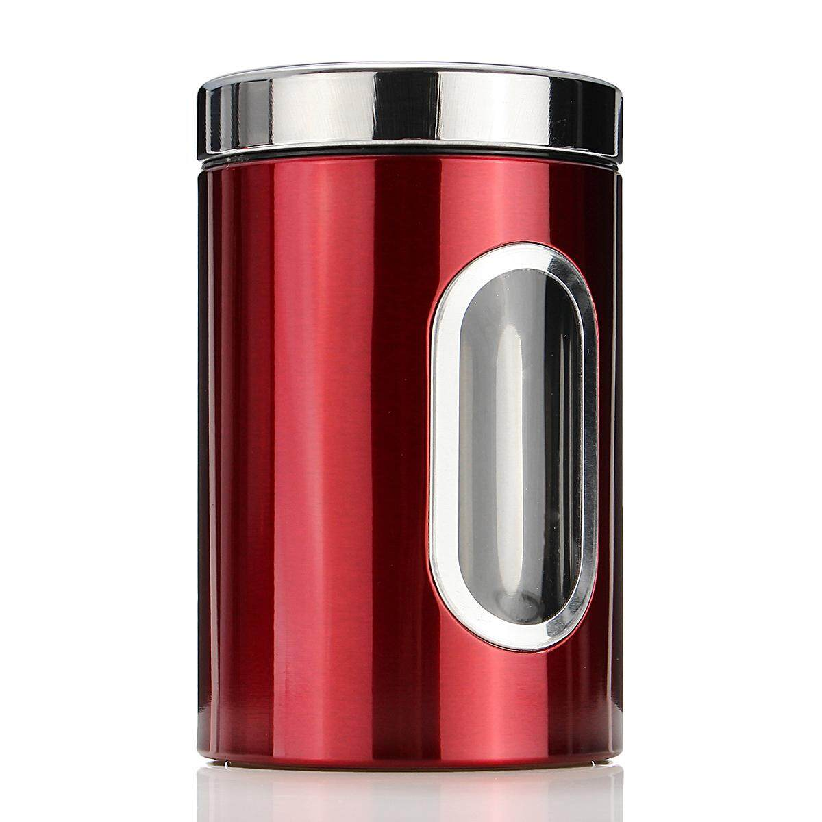 ... 3 Pcs Jendela Baja Anti Karat Tabung Teh Kopi Gula Toples Kacang Penyimpanan Set-Intl