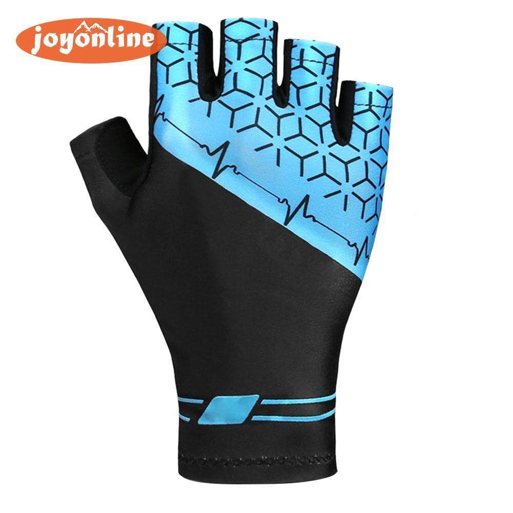 Hình ảnh 1 Pair Cycling Mountain Bike Half Finger Gloves Non-slip Breathable Shockproof Men Women Bicycle Reflective Gloves(Black)-L - intl